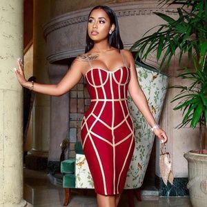 🎥 Bandage Slim Dress with Contrast Trim Burgundy